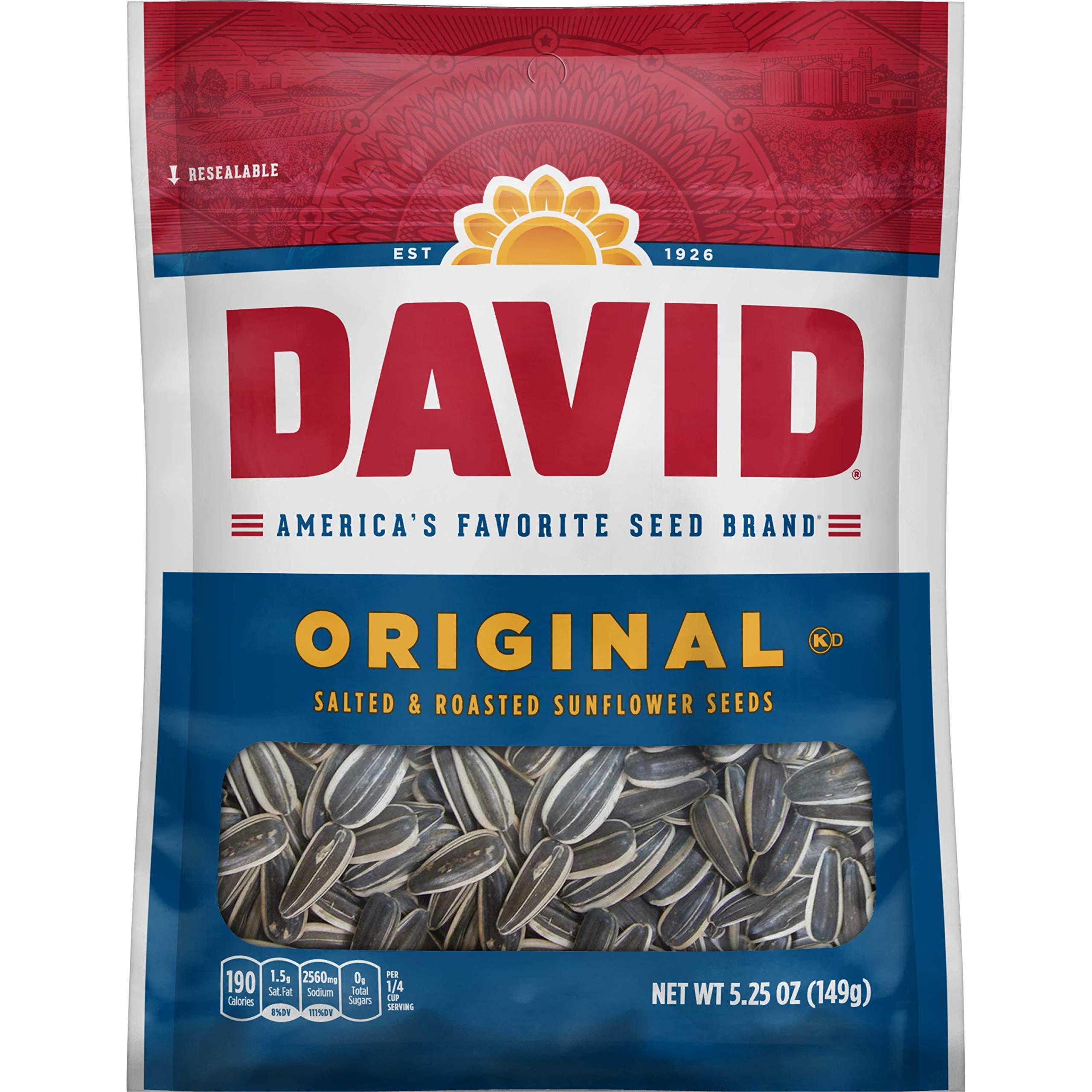 DAVID SEEDS Roasted and Salted Original Sunflower Seeds, Keto Friendly, 5.25 oz, 12 Pack