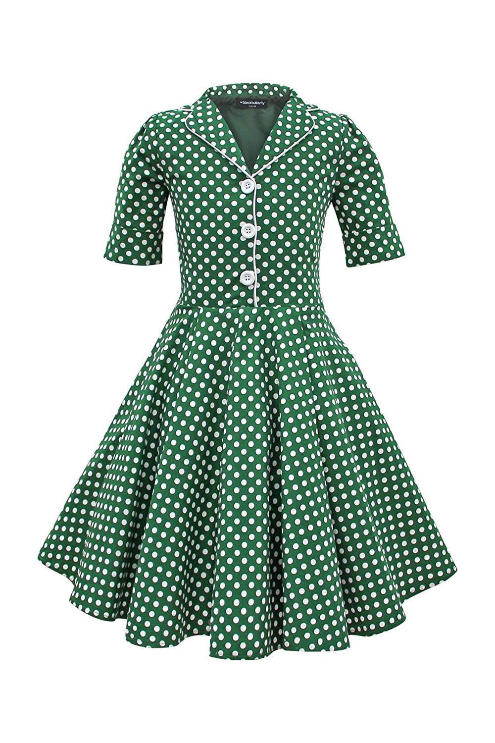 Kids 1950s Clothing & Costumes: Girls, Boys, Toddlers Black Butterfly Clothing BlackButterfly Kids Sabrina Vintage Polka Dot 50s Girls Dress $33.99 AT vintagedancer.com
