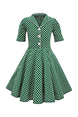55a432d25 BlackButterfly Kids 'Sabrina' Vintage Polka Dot 50's Girls Dress (Green, ...