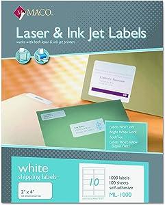 MACO ML1000 White Laser/Inkjet Shipping & Address Labels, 2 x 4 (Box of 1000)