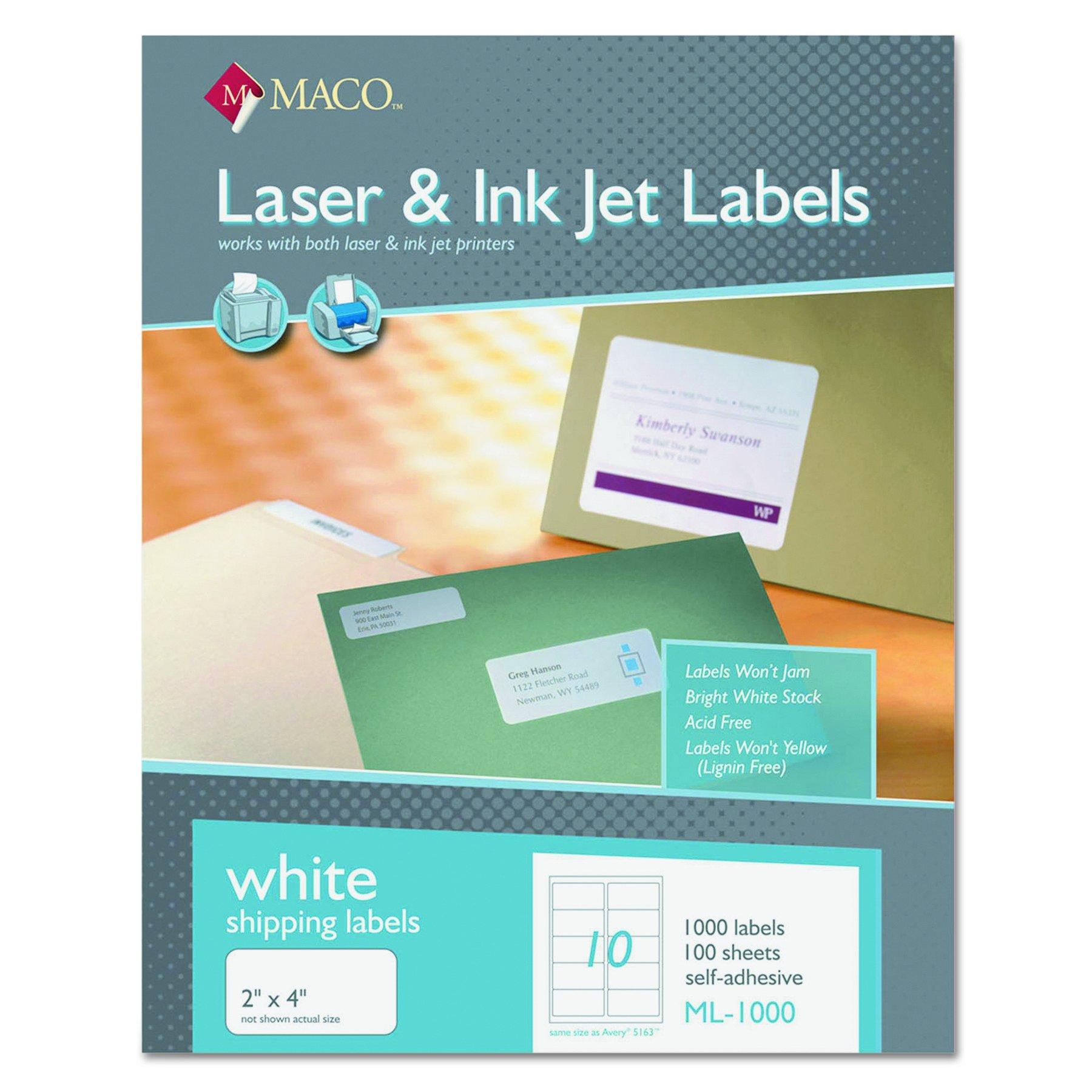MACO ML1000 White Laser/Inkjet Shipping & Address Labels, 2 x 4 (Box of 1000) by MACO