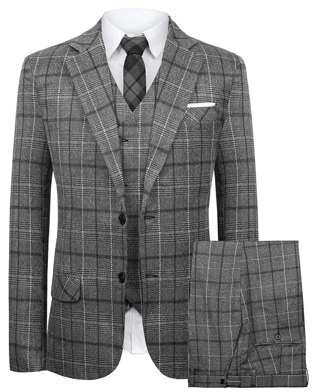 Hanayome Men's 3 Pc Grey Business Suit Formal Tuxedo Casucal Separate Pant Set 2018 SI82-SPV-A101