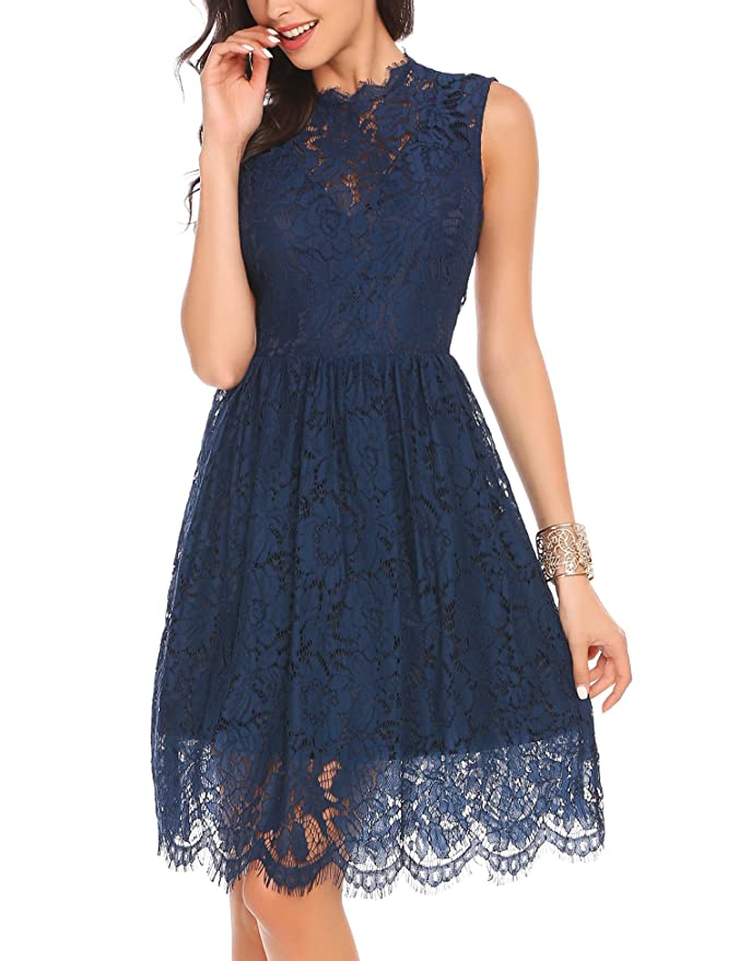 cdfa8c9dfd7 Zeagoo Women Sleeveless Lace Floral Elegant Cocktail Dress Crew Neck Knee  Length for Party at Amazon Women s Clothing store