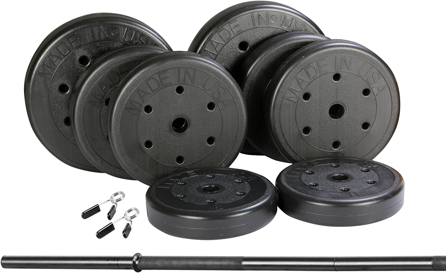 US Weight 100 lb. Traditional Barbell Weight Set with New Upgraded Bar and Spring Locking Clips – Includes 20, 20 and 8 lb. Weights