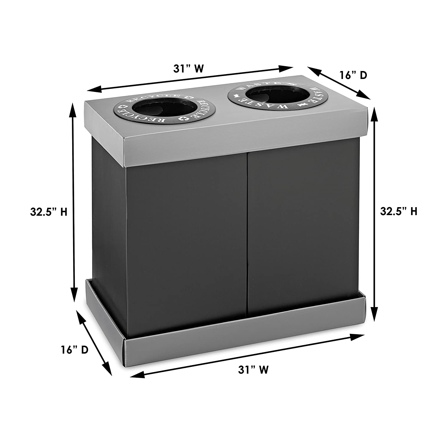 Alpine Industries Recycling Center 28 Gallons - Durable Corrugated Plastic  Waste/Trash Organizer Ideal for Kitchen Office Hospital Commercial Use (2  ...