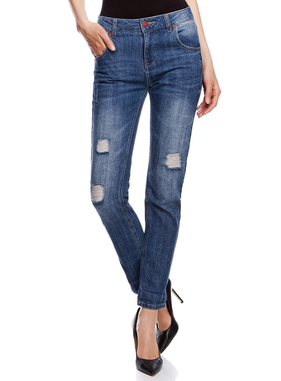 oodji Ultra Donna Jeans Boyfriend Effetto Invecchiato con Strappi RIFICZECH s.r.o. 12105015