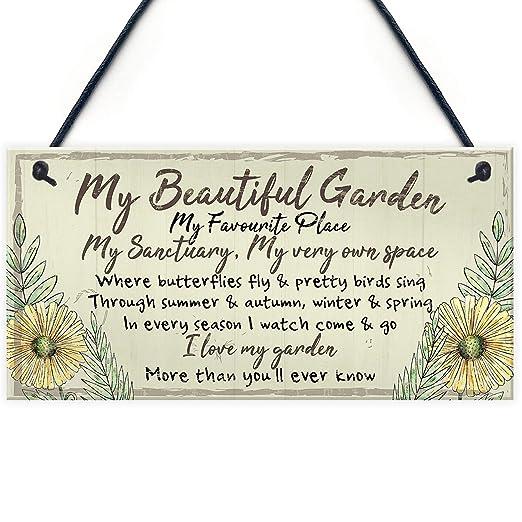 Shunry My Beautiful Garden Colgar en la Pared Letrero de ...