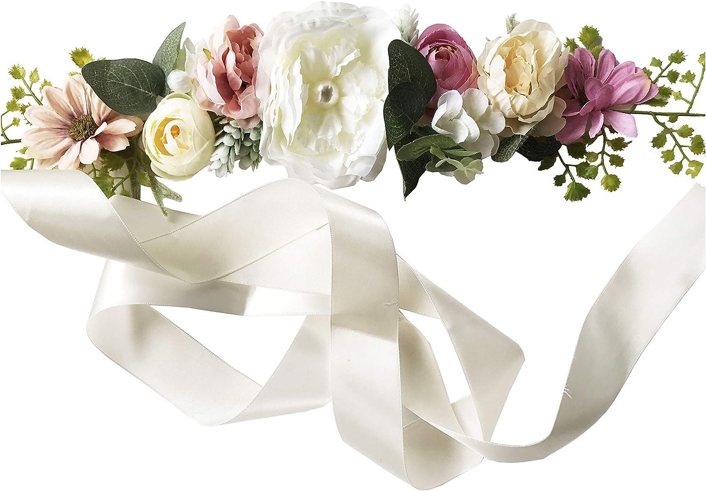 Wedding Bride Belt Sash Maternity Flower Crystal Pearls Belts for Dress PTK16-B