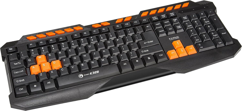 Marvo K328 - Teclado Multimedia para Gaming (QWERTY Inglés) Color Negro y Naranja