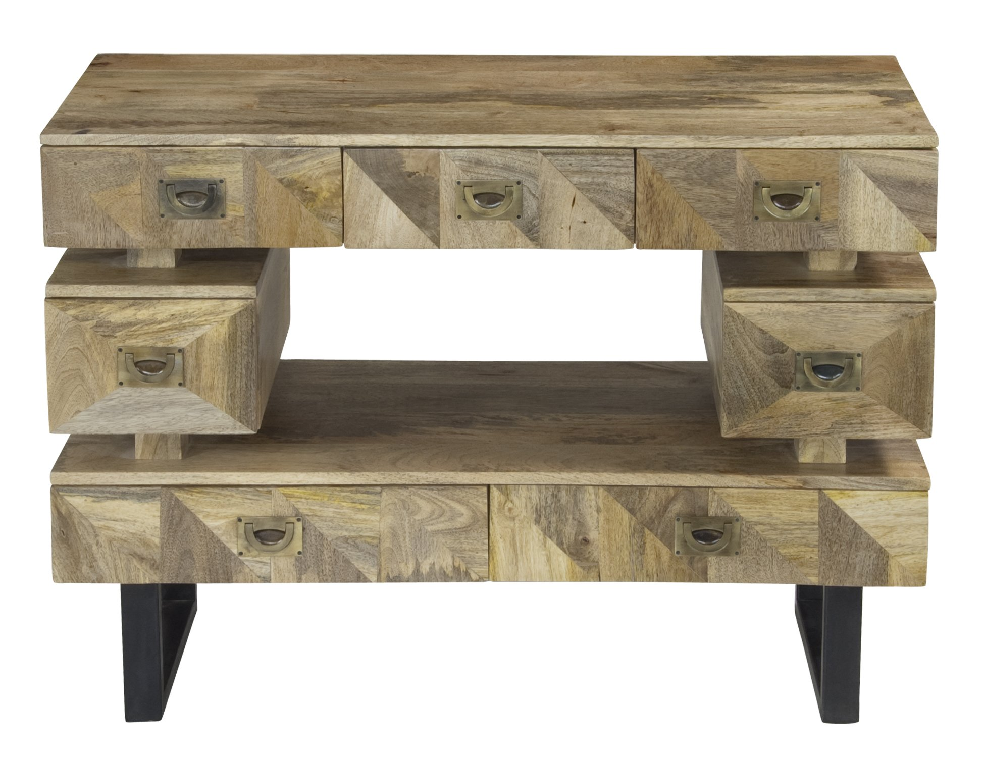 Kerala Natural Mango Wood Seven Drawer Media Console