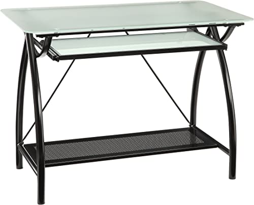 Office Star Office Star Newport Computer Desk with Frosted Tempered Glass Top, Pullout Keyboard Tray, and Black Powder Coated Steel Frame
