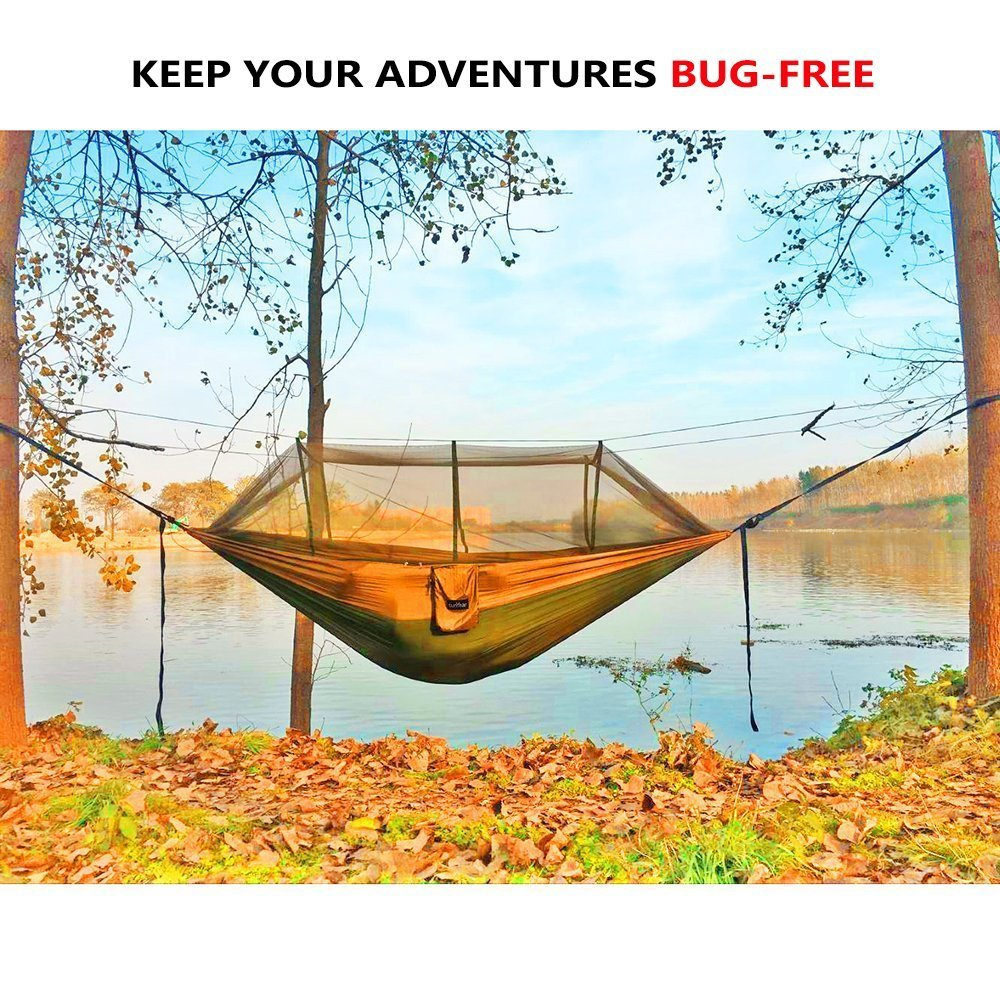 Single Double Camping Hammock with Mosquito Bug Net, 10ft Hammock Tree Straps Carabiners Easy Assembly Portable Parachute Nylon Hammock for Camping, Backpacking, Survival, Travel More