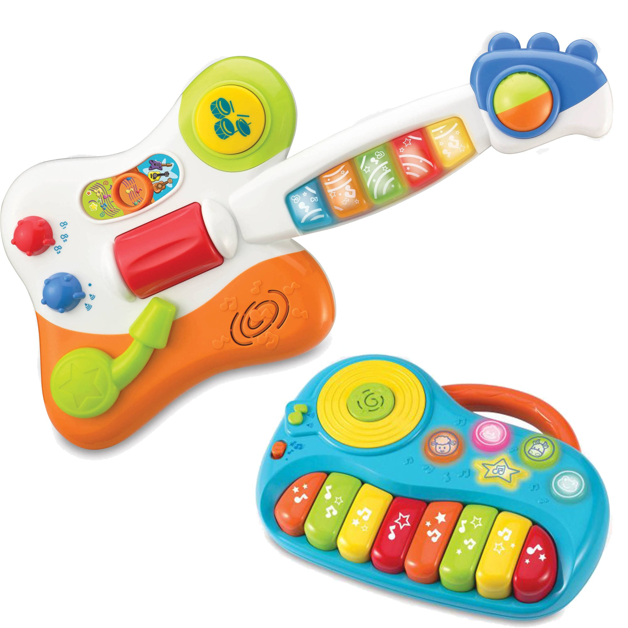 Little Virtuoso Piano Junior Kids Instrument Learning Activity Toys with Rock Jr. Guitar