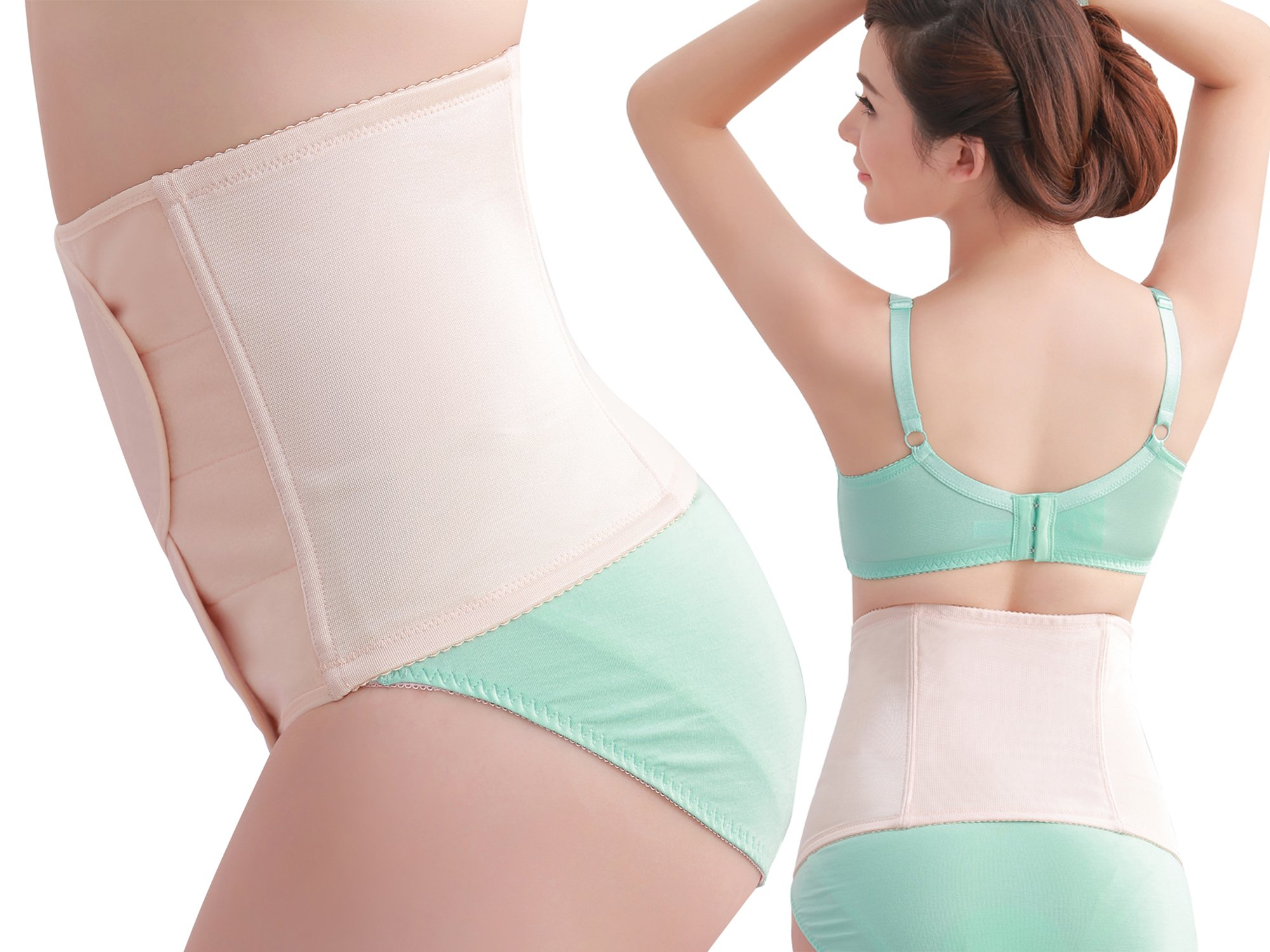 Picotee Women Postpartum Belly Wrap Band Maternity Recovery Support Waist Belt (Nude, L)