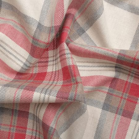 Rosso 100% Cotton Tartan Check Pastel Plaid Faux Wool Sofa Curtain  Upholstery Fabric  Amazon.co.uk  Kitchen   Home eced1119fb7