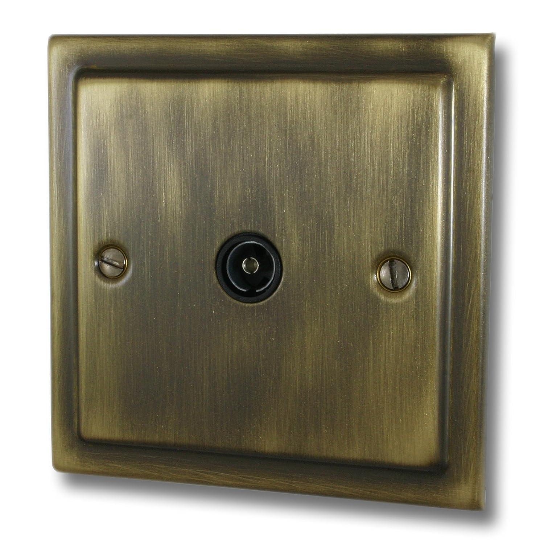 G&H Brassware TAB35B Victorian Antique Brass Single TV Socket Point