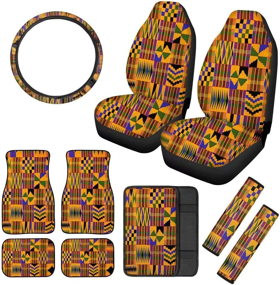 BIGCARJOB Auto Accessiores Rainbow Tie Dye Print 11pc Auto Cover,Front Seat Covers,Streering Wheel Cover,Center Console Pad Seat Belt Shoulder Cover with Car Mat fit Most Truck Sedan