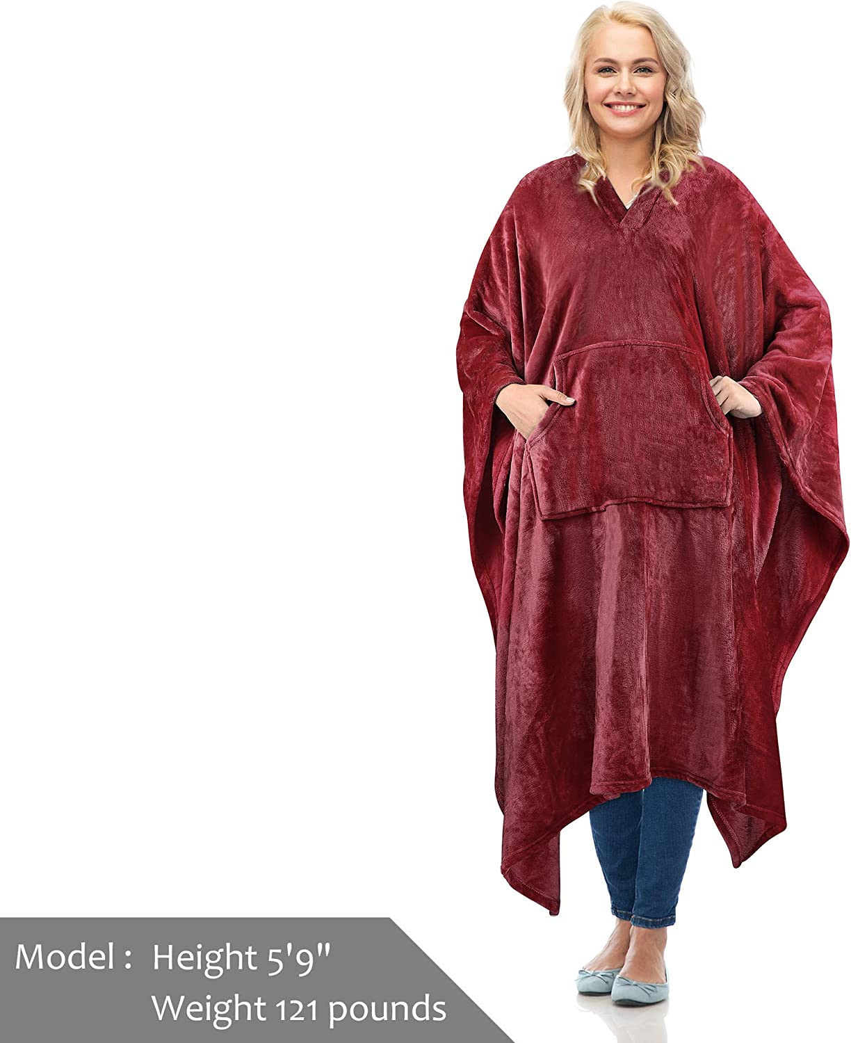 Catalonia Fleece Wearable Blanket Poncho for Adult Women Men,Wrap Blanket Cape with Pocket,Warm,Soft,Cozy,Snuggly,Comfort Gift,No Sleeves,Aqua