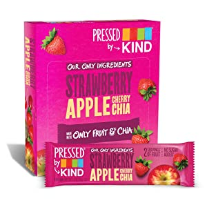 Pressed by KIND Fruit Bars Strawberry Apple Chia, No Sugar Added, Non GMO, Gluten Free, 12 Count