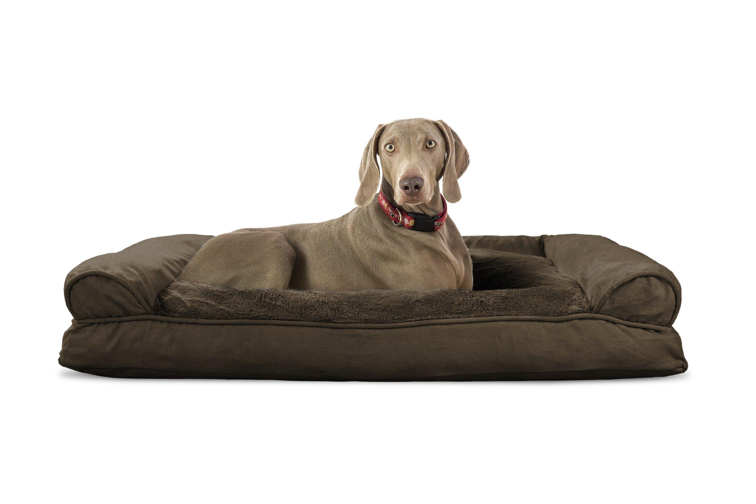 Furhaven Pet Plush & Suede Pillow Sofa Pet Bed, Espresso, Jumbo
