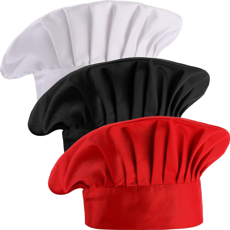3 Pieces Multicolor Chef Hat Adult Adjustable Elastic Baker Kitchen Cooking Chef Cap