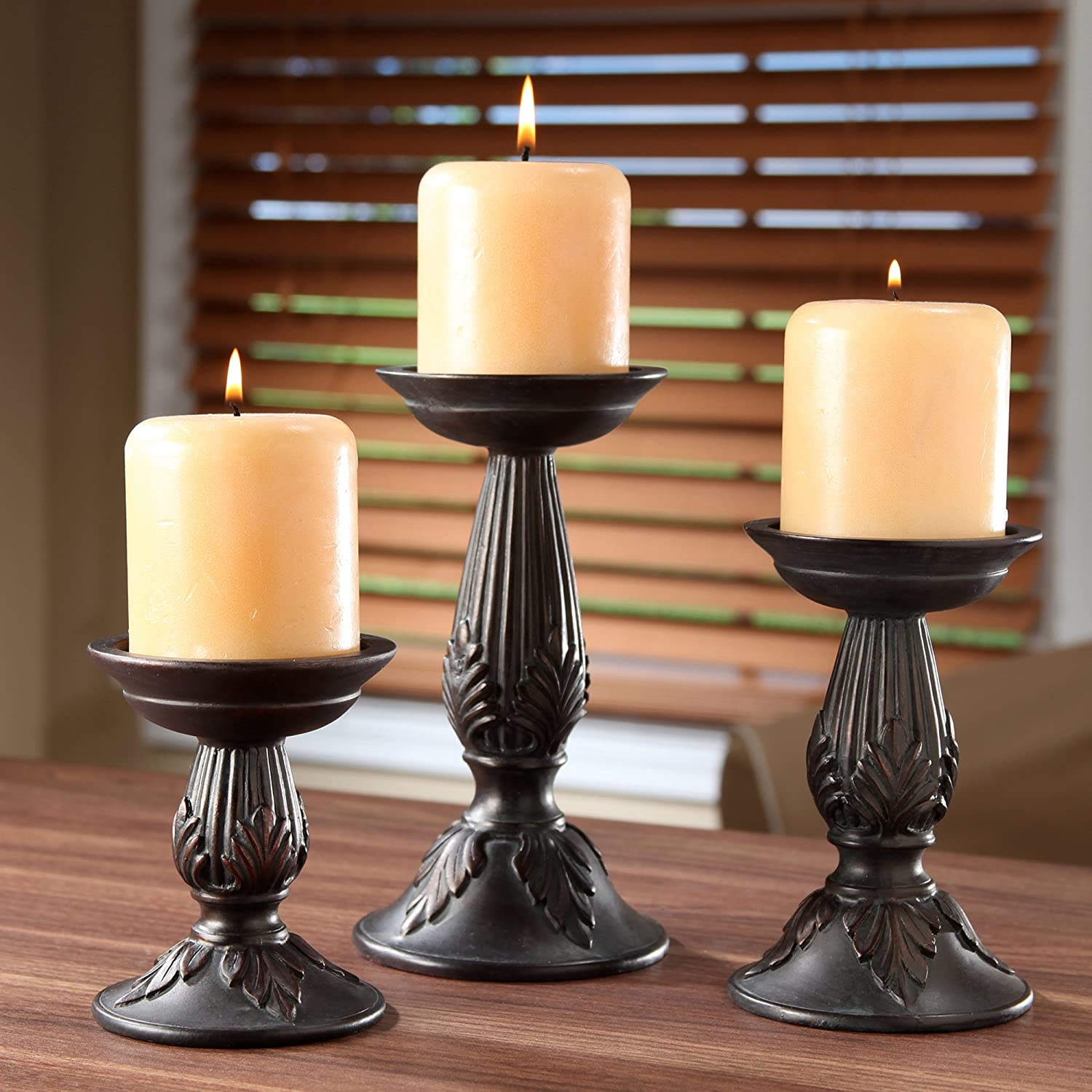 Christmas Tablescape Décor - Dark Brown Antique Style Resin Pillar Candle Holders Set of 3