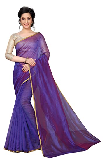 cc14a17675a133 Perfectblue Women s Linen Saree With Blouse Piece (SilkiVariation) (Blue)