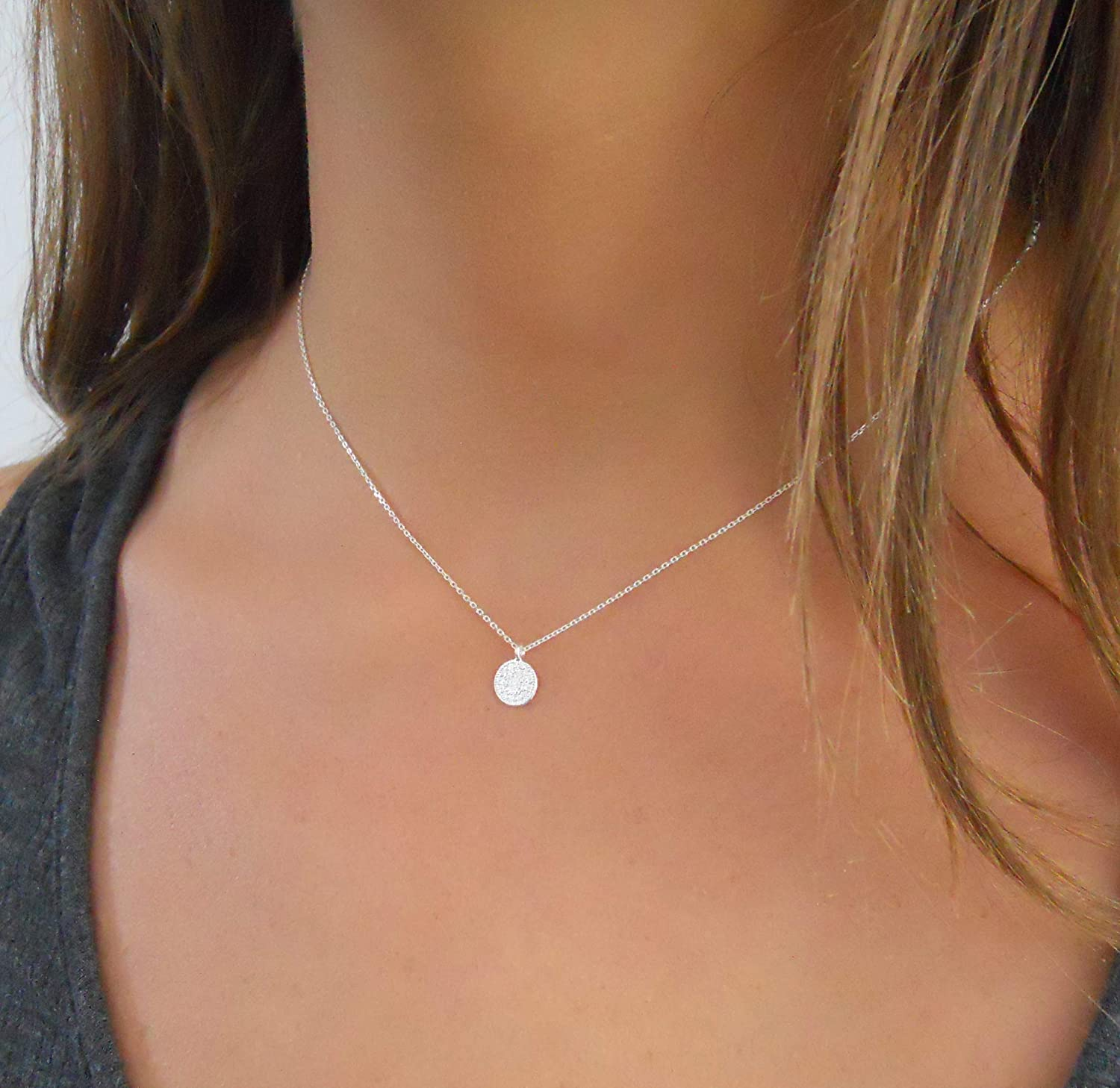 Annikabella Handmade Layered Simple Sterling Silver Coin Dot Choker Necklace with a Tiny Round Medallion Pendant For Women