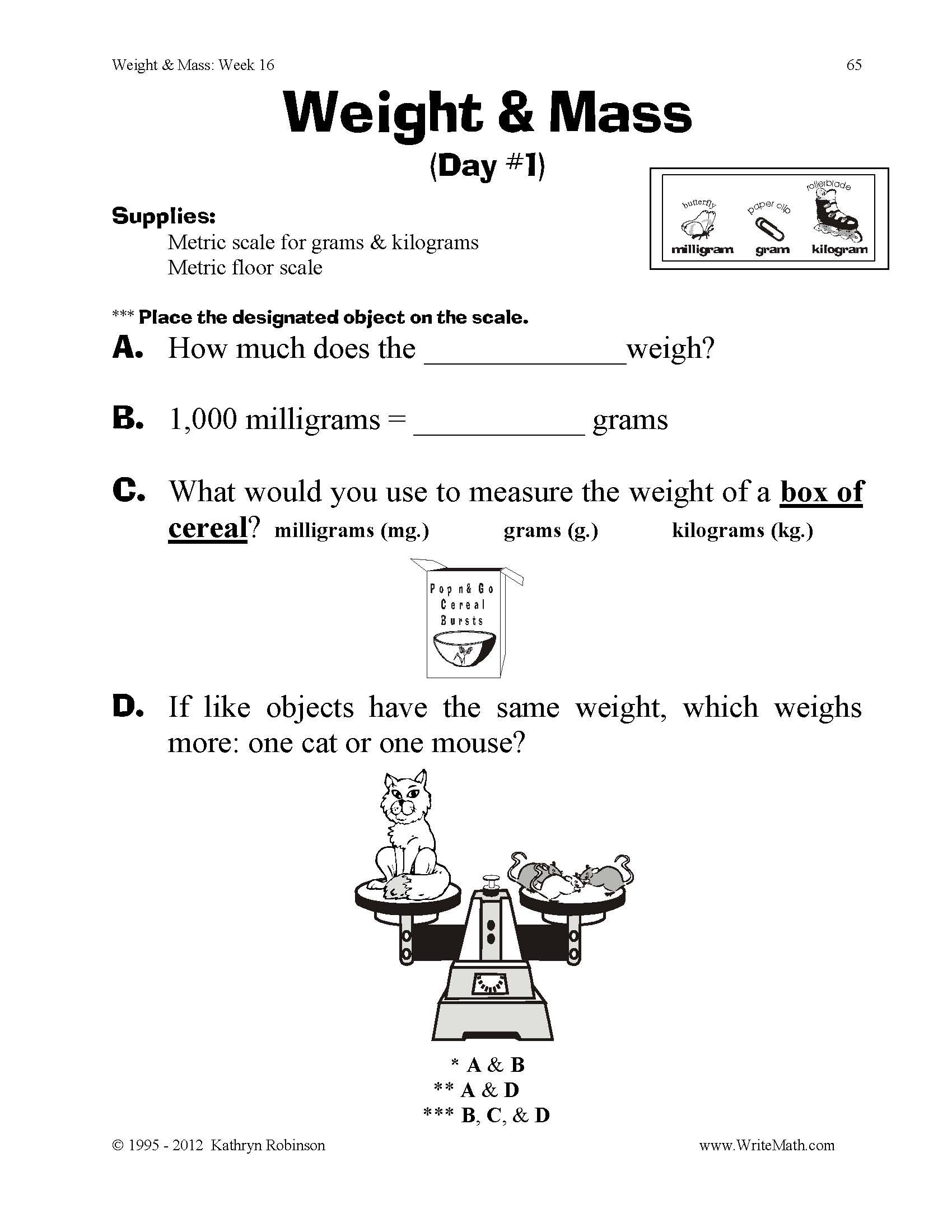 Teaching Weight Mass 3rd 4th 5th Grade Math Worksheets Just – 5th Grade Worksheets Math