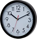 Unity Hastings 22cm 8.6-Inch Silent Sweep Modern Wall Clock in Black, 22 x 22 x 5 cm