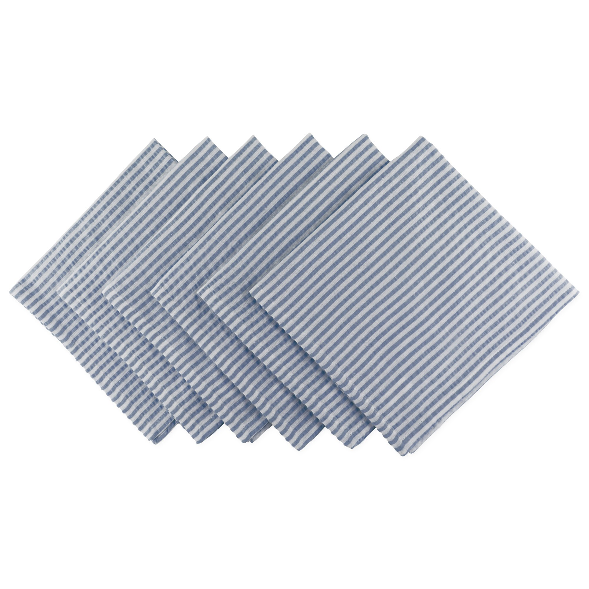 DII Cotton Seersucker Striped Napkin for Brunch, Weddings, Showers, Parties and Everyday Use, 20 x 20'', French Blue and White