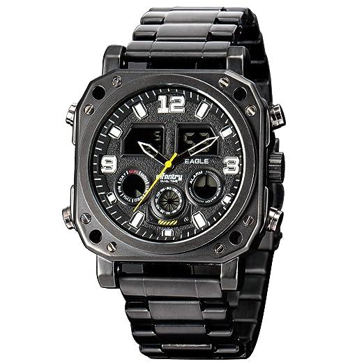 Infantería para hombre táctico militar analógico digital deporte reloj negro banda de acero inoxidable: Amazon.es: Relojes