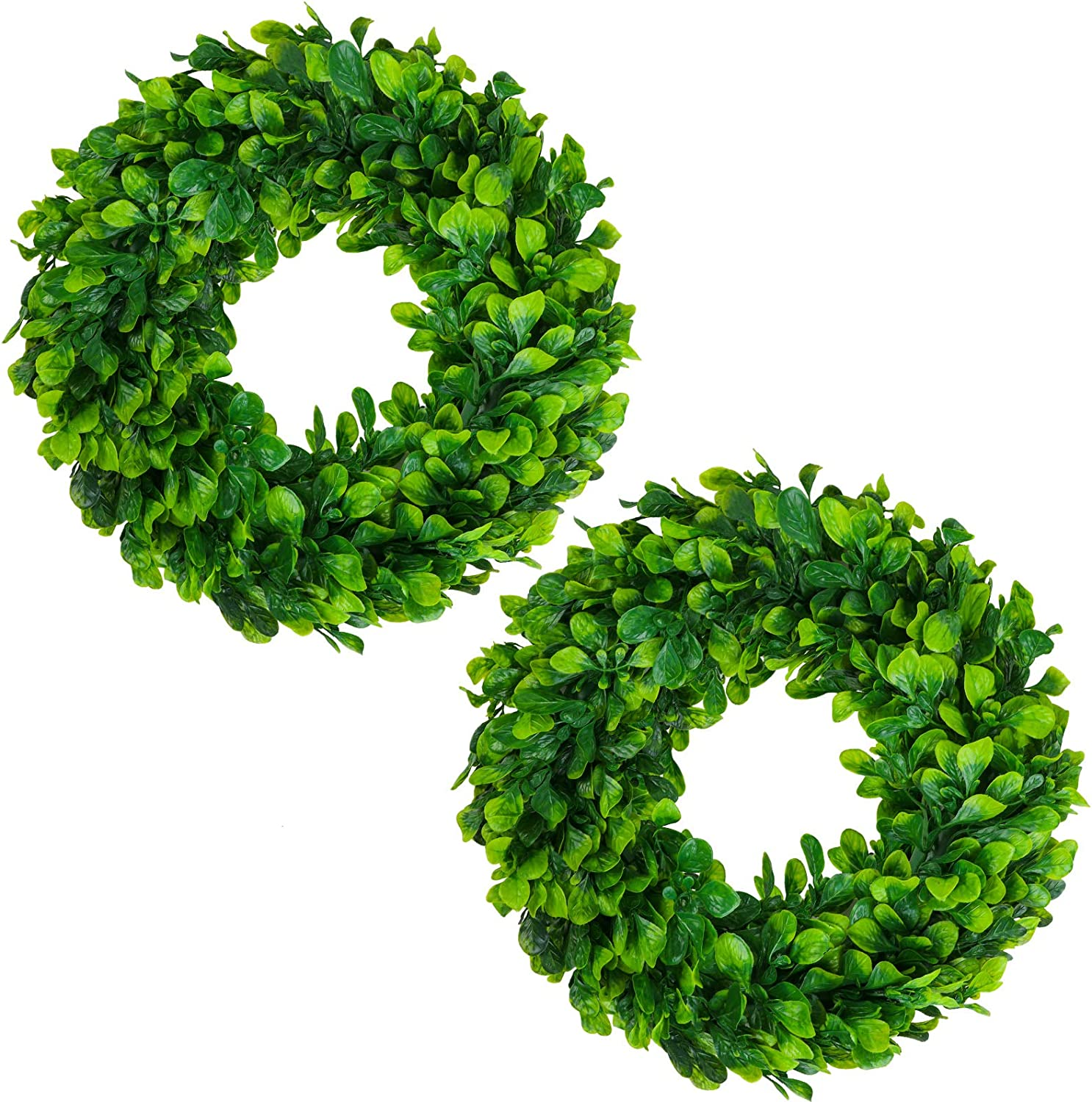 Ruisita 2 Pack Artificial Green Leaves Wreath Front Door Wall Hanging Boxwood Wreath for Home Wedding Party Decoration, Spring Summer Christmas Decor
