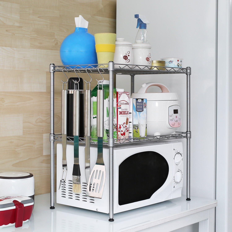 simple y duradero Estante de acero al carbono para horno de microondas color: negro multifunci/ón estante superior de cocina para sala de estar dormitorio organizador de gabinete de casa