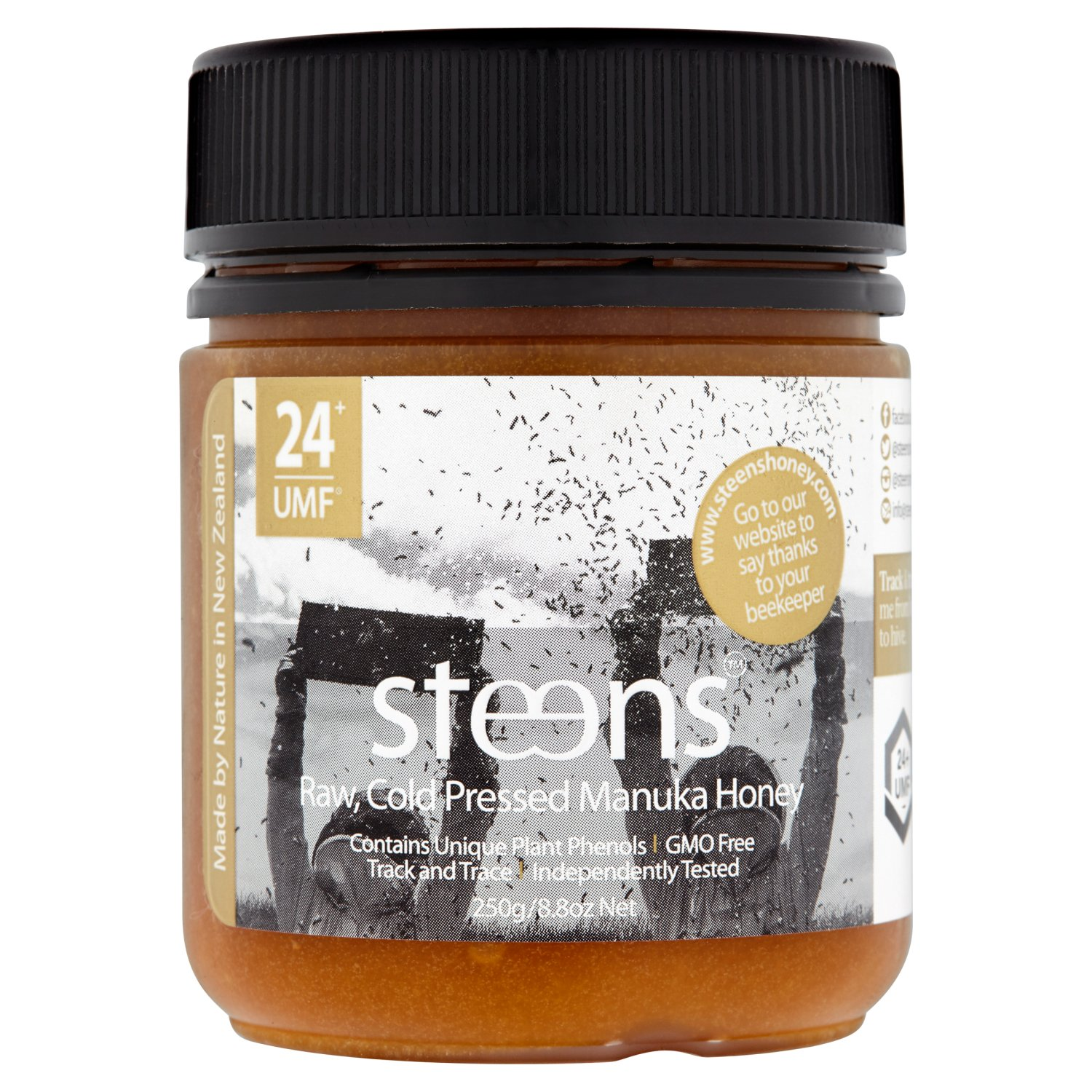 Steens UMF 24 Manuka Honey (MGO 1122) 8.8 Ounce jar with box | Raw Unpasteurized Honey From New Zealand | Traceability Code on Each Label