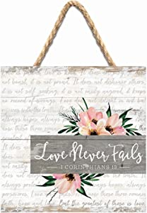 P. Graham Dunn Love Never Fails Floral Whitewash 7 x 7 Inch Wood Pallet Wall Hanging Sign