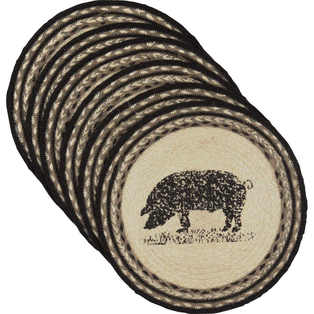 VHC Brands 34286 Classic Country Farmhouse Tabletop & Kitchen-Sawyer Mill White Round Jute Tablemat Set of 6, One Size, Pig by Unknown (Image #1)