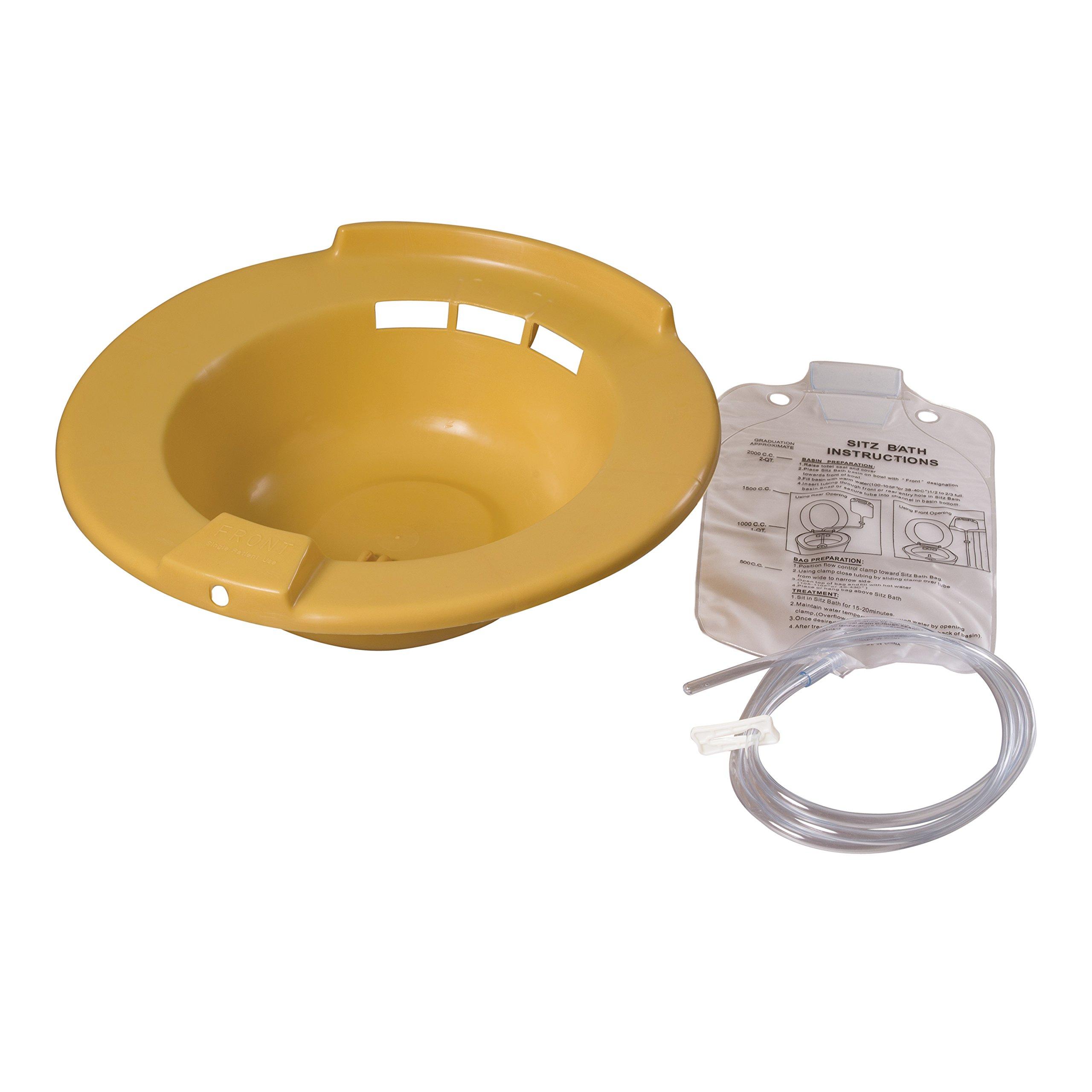 DMI Portable Bidet Sitz Bath, Fits on Toilet, Smooth Contoured Plastic, Yellow by Duro-Med