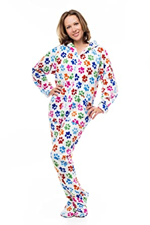 83f8514fe4 Amazon.com  Kajamaz Dog Pawz Adult Footed Pajamas  Clothing