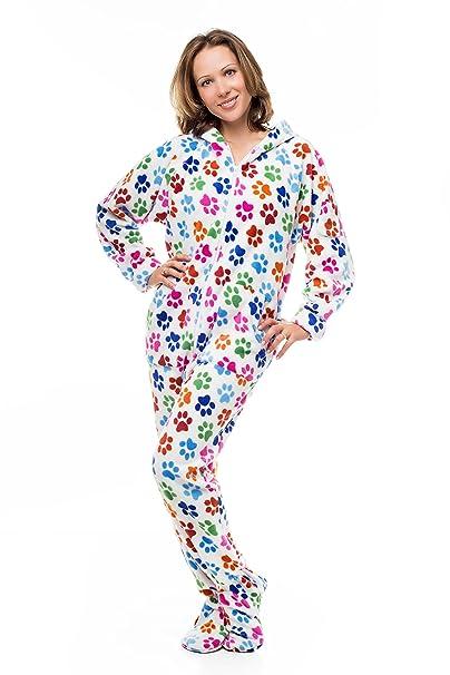 Kajamaz Pijama entero con pies para adultos Huellas Caninas Pijamas enteros con pies para adultos (