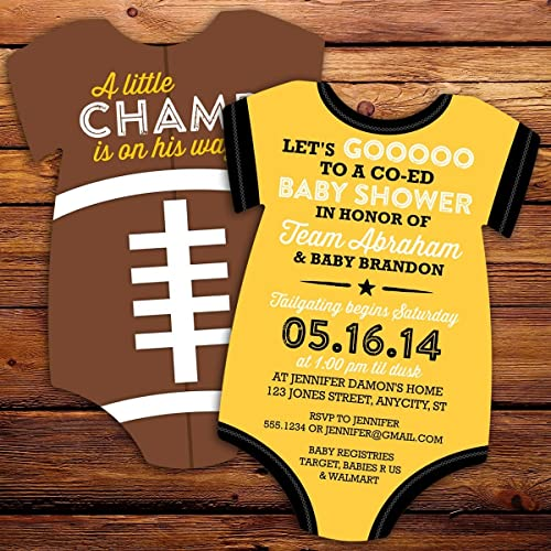 Football Onesie Baby Shower Invitations   Die Cut Cards With Envelopes    Set Of 10