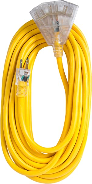 Bergen Industries Inc Oc501233t Extra Heavy Duty Outdoor Triple Tap Extension Cord 50 Ft 12 Awg 15a 125v Ac Amazon Com