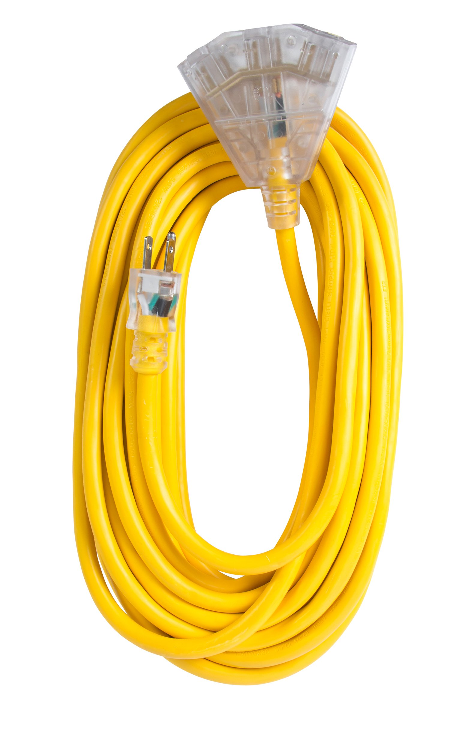 Bergen Industries Inc OC501233T Extra Heavy-Duty Outdoor Triple Tap Extension Cord, 50 ft, 12 AWG, 15A/125V AC by Bergen Industries Inc (Image #1)