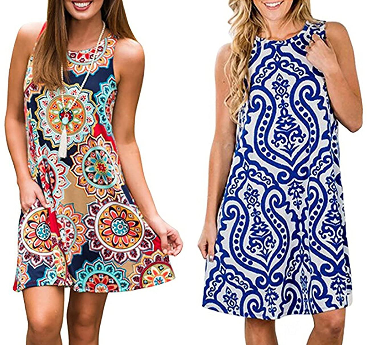 a665dbc5643aef YeeATZ Women s Summer Casual Sleeveless Floral Printed Swing Dress Sundress  with Pockets at Amazon Women s Clothing store