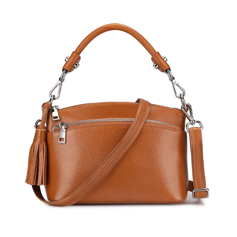 S-ZONE Women's Small Genuine Leather Multi Zipper Crossbody Bag Top-handle Handbag Shoulder Bag Satchel (Brown)