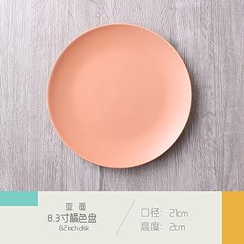 Cubertería simple de cerámica mate platos de pasta 8 en mesa de restaurante de hotel, color naranja de 20,32 cm, 1: Amazon.es: Hogar