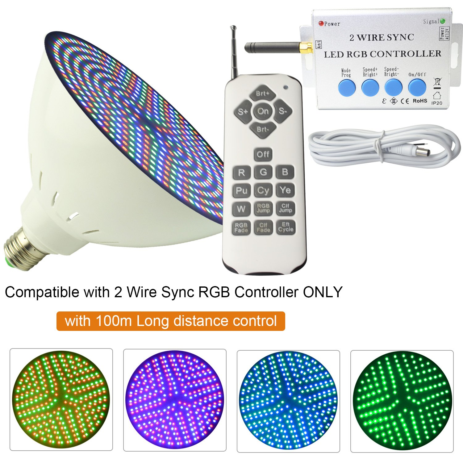 Aliyeah AC12V 18W PAR56 E27 2 Wire Sync RGB LED Color Changing Swimming Pool Light, Power Line Communication with 100M Long Distance Control (1 pcs 12V 18W+1 pcs 2 Wire Sync RGB Controller)