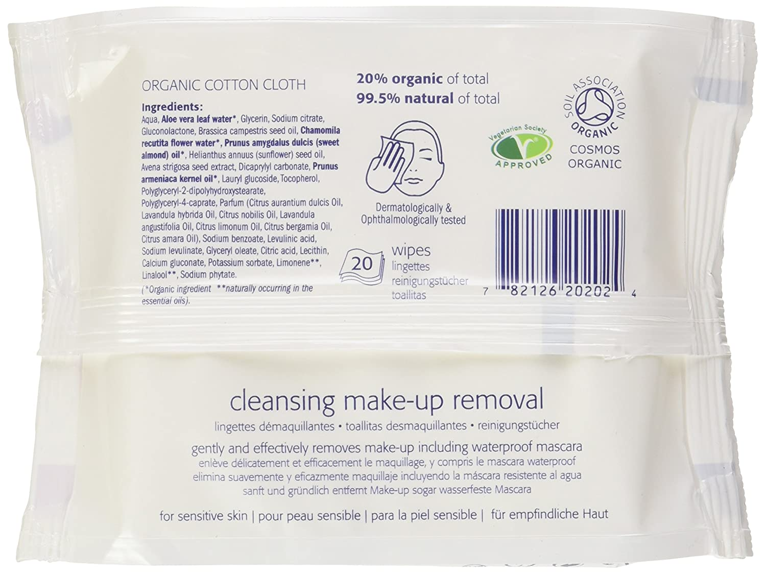 Amazon.com : Natracare Cleansing Make Up Removal Wipes, 0.4315 Pound : Beauty