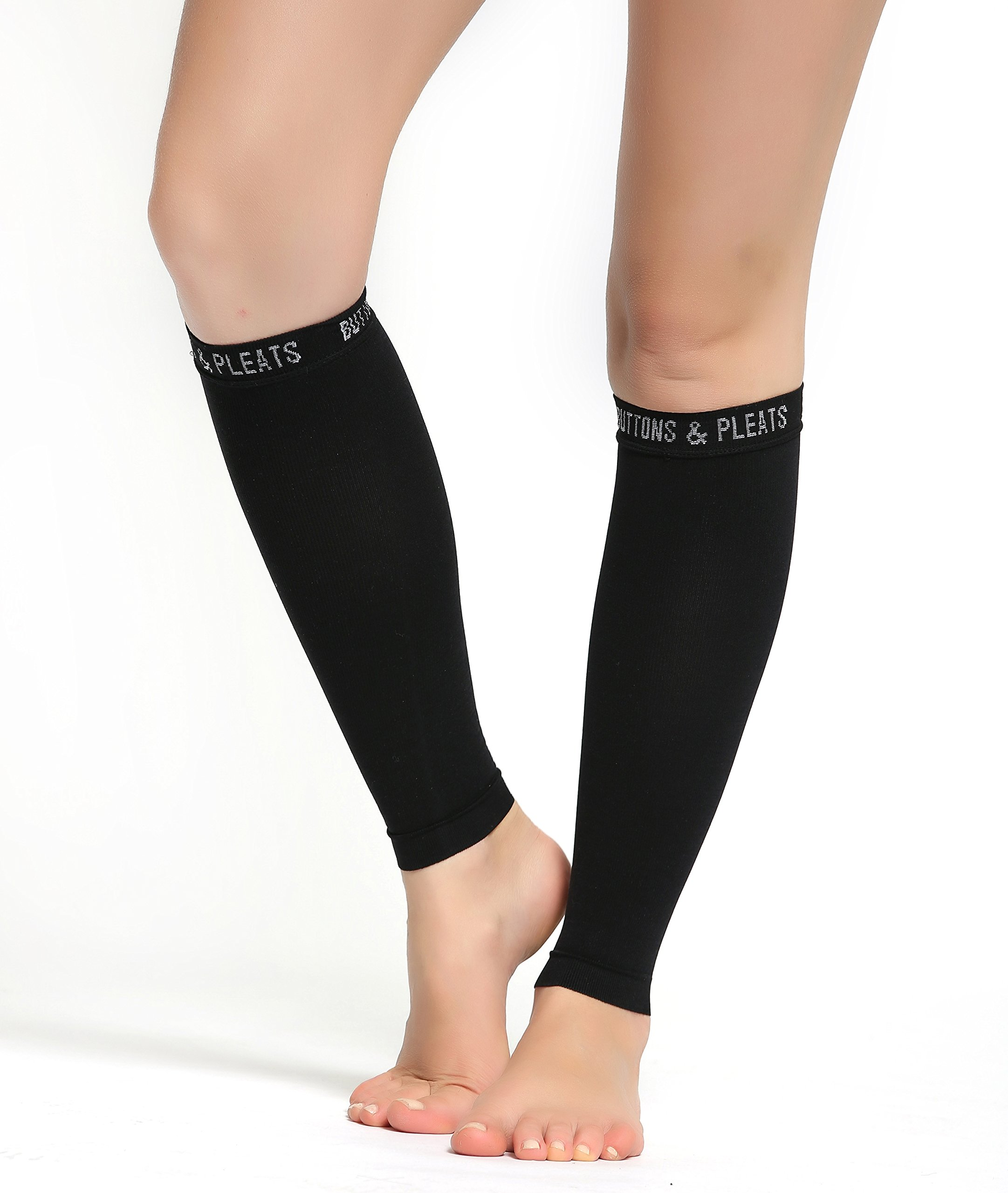 Buttons & Pleats Calf Compression Sleeve for Women & Men - Footless Leg Sleeves Socks - Boosts Circulation - Reduces Fatigue - Eases Shin Splints 1 Pair Black M/L