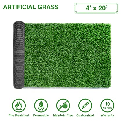 LITA Premium Artificial Grass 4' x 20' (80 Square Feet) Realistic Fake  Grass Deluxe Turf Synthetic Turf Thick Lawn Pet Turf -Perfect  indoor/outdoor